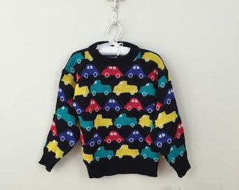 80s Way Too Cool Multicolor Cars Acrylic Sweater, NWT, Boys Size 5 to 6
