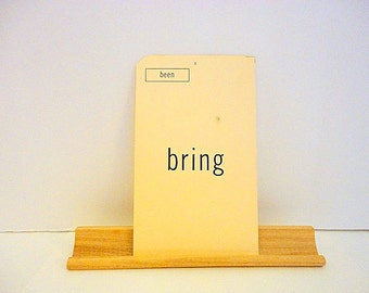 Vintage WORD FLASH Card - BRING Been- Double sided card - 1960s - Mixed media - Art supply