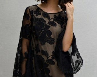 Kupu Kupu Mini Dress in Black/Nude