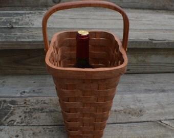 Wine tote basket cherry wood