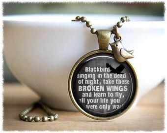 Beatles Lyrics Necklace • Blackbird Singing • Song Lyrics Jewelry • Music Necklace • Music Lover Gift