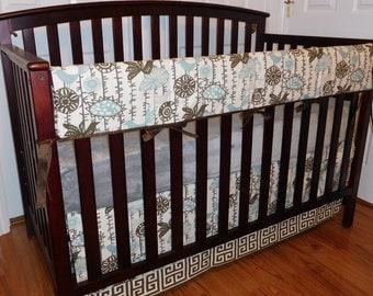 Sale!!!!!!! Bumper-less, Menagerie Village Blue/ Natural, Dolce Vita: 2-4pc   Baby Bedding Set, Rail Guard, Skirt, Sheet.