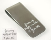 Actual handwriting money clip, Custom money clip, Personalized money clip, Engraved Monogram Gift Groomsmen Gift Fathers day gift for Dad