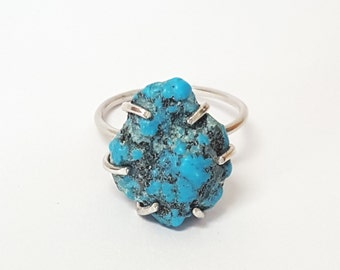 Handmade AZ Turquoise Ring Sterling Silver or 14k Gold Fill - Made to Order - Crystal Ring - Minimal - Simple
