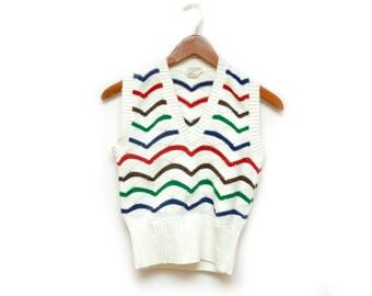 70s Striped Sweater Vest Cream Multicolor Women's Size Small