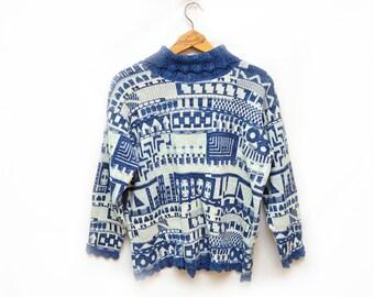 80s Crocheted Granny Turtleneck Sweater Geometric Patterned Women's Large