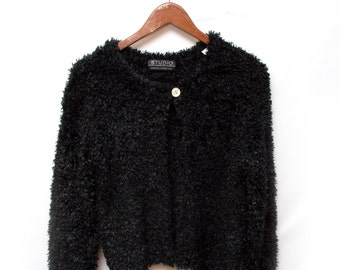 90s Black Fuzzy Furry Sweater Cardigan Women's Large
