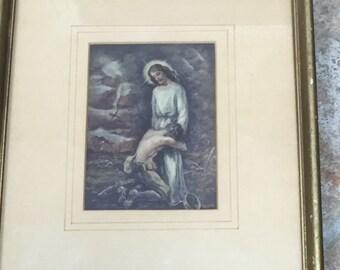 Vintage Jesus Print Patriotic Wartime Catholic WW2 WWII 1944 Jesus Soldier Framed Thou Art With Me by John C. Kuck & Joseph Rusiecki