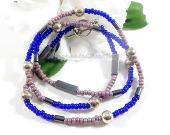 Blue and Lavender w Hematite Stone Czech Glass Necklace, 20 inch Necklace Fashion Jewelry Trending Boho Chic Czech Necklace Liquidation Sale