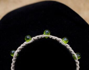 Hemp Bracelet with Green Glass Teardrops
