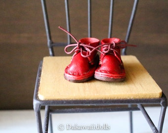 Blythe Doll / Hand made Leather shoes / work boots short/Red