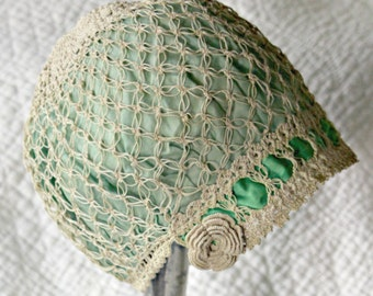 Vintage 1920s Ladies Handmade Cloche Hat--Green Satin, Ecru Crochet Flapper Style