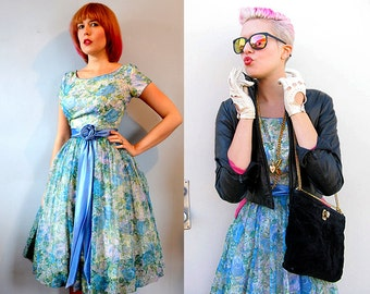 Blue Floral / 50s 60s / Prom Party Swing Dress / Full Circle Sweep / Rockabilly Pin up / S XS / Ribbon Detail / Flared
