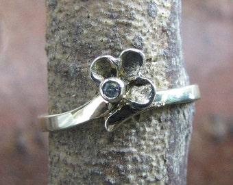 DEADsy LAST GASP SALE Gold Flower Ring // Vintage Diamond Engagement Ring // Dainty Diamond Flower Ring in 9K Gold