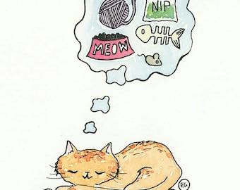 Sweet Dreams Watercolor Print/ Kitty cat kitten portrait custom illustration drawing by Eliza George