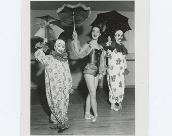 Vintage Snapshot Photo: Clown Dancers (69505)