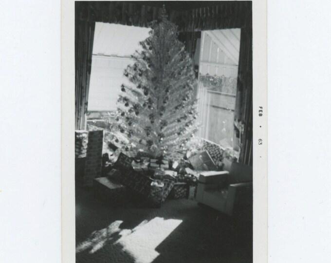 Vintage Snapshot Photo: Xmas Tree in Sunny Window, 1963 (610510)