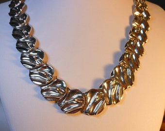 Runway Monet Heavy Silver Plated Necklace     25 Inch Tapered Necklace   26-20 MM