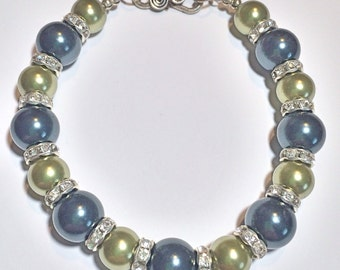 """Beautiful """"Under the Sea"""" with Shades of Green Swarovski Pearls and Swarovski Crystal Accents Sterling Silver Bracelet"""