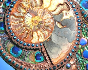 Mosaic, Ammonite, Paua shell & Peacock feather mirror - mosaic art