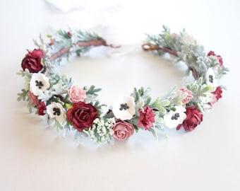Burgundy Flower Crown, Christmas Flower Crown, Bridal Flower Crown, Winter Flower Crown, Floral Headpiece, Head Wreath, SERENDIPITY