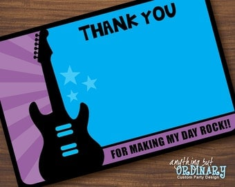 Rockstar Thank You Card, Flat Card, EDITABLE Thank You Note, INSTANT DOWNLOAD, digital printable file