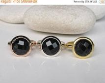 SALE Black Onyx Ring-Black Gemstone Ring- Black Stone Ring- Black Ring- Black Gold Ring- Rose Gold Ring- Ring- Round Stone Ring- Quartz Ring