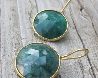 SALE Green Emerald Earrings- Emerald Gold Earrings- Green Stone Earrings- Gemstone Earrings- Gold Dangle Earrings