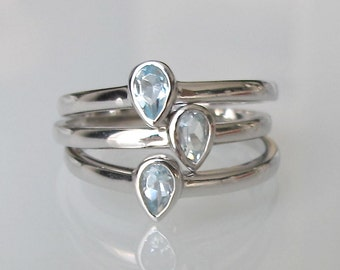 Blue Topaz Stack Ring- Stack Ring- Mothers Ring- Birthstone Rings- December Ring- Topaz Ring- Stackable Rings- Silver Ring