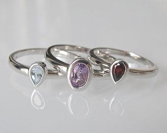 Gemstone Stack Ring- Stack Ring- Midi Ring- Mothers Ring- Children Birthstone Rings- Amethyst Ring- Garnet Ring- Blue Topaz Ring- Rings