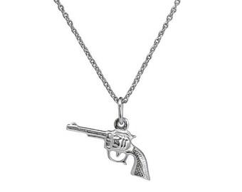 Gold Gun Necklace- Gun Necklace- Rifle Necklace- Revolver Necklace- Gold Necklace- Necklaces- Sterling Silver Gun Necklace