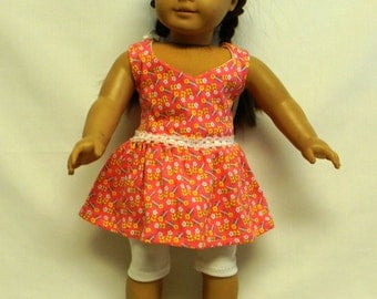 Pink Knit Cotton Sundress For 18 Inch Doll Like The American Girl