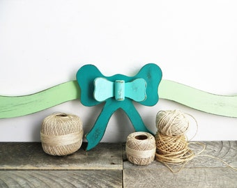 Huge Wooden Bow - Pretty Wall Hanging - Turquoise Mint Green Teal - Christmas Decor
