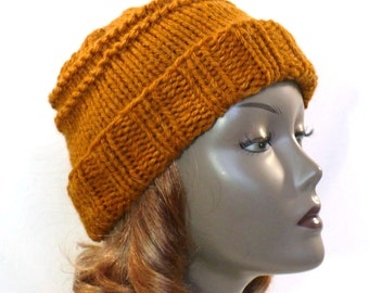 Hand Knit Hat - Woman's Knit Hat, Amber Winter Hat, Chunky Knits, Slouchy Watchcap, Ready to Ship