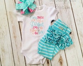 every inch of me is perfect bodysuit- embroidered ruffle bodysuit-M2M Sew Sassy cyan stripe- m2m Sew Sassy Peach