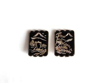 Sterling Silver Black Lacquer Earrings Oriental Japanese Earrings Screw back Signed SK