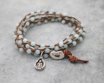 Amazonite Wrap Bracelet - Beaded Wrap Bracelet - Yoga Bracelet - Bohemian Wrap -  Buddha Charm