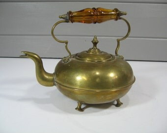 Antique Brass Tea Kettle, Amber glass handle, Rustic Home Decor, Brass Collectible