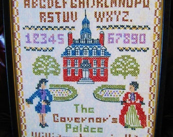 The Governor's Palace, Williamsburg, Virginia, Hand Stitched, Cross Stitch Linen Sampler, Framed, 1960 Wall Decor