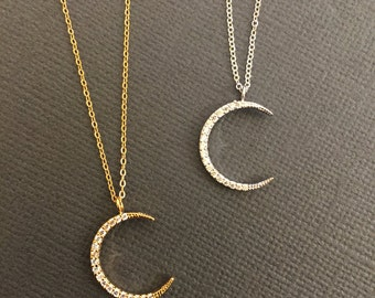 Dainty Crescent Moon necklace, Gold Pave Crescent Moon Necklace, Gold Moon Necklace, Everyday Jewelry, Gift for Mom, Gift for a child