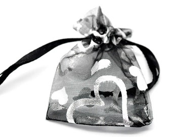 "10 Pieces Small Black Heart Organza Gift Bags 9cm x7cm(3 4/8"" x2 6/8"")"