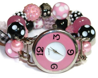 Pink and Polka Dots Chunky Beaded Watch - Interchangeable Watch - BeadsnTime - Apple Watch Band - Pink and Black Watch - Stretch Watch
