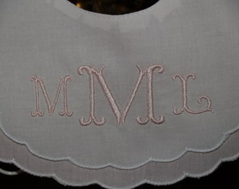 Baby Girl Scalloped Cotton Bib Pink and White with Embroider Monogram