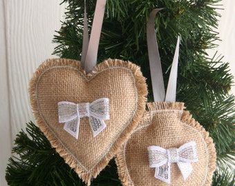 Burlap and Bling, READY TO SHIP, set of 2 hanging ornaments, sequins, bows, white