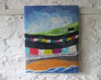 textile wall art, hand felted picture, wet felted art on canvas, original art,  20 x 16 inches
