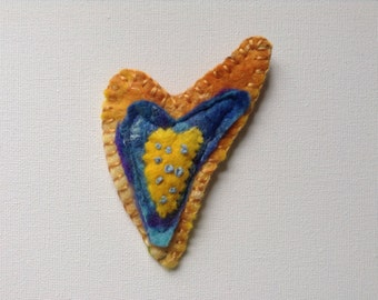 Felt brooch, yellow brooch, heart shaped brooch