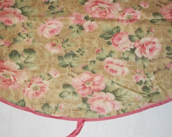 Vintage Pink Roses Fabric Curtain Panel Moire Shabby Cottage Chic