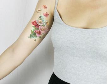 Temporary tattoos - floral tattoo - vintage tattoo - poppies