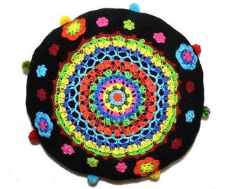 multicolor crochet BANJU - PILLOW - rainbowpillow - flower power