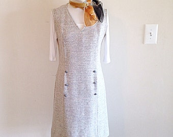 SALE! Vintage Grey Tweed Jumper Dress Retro Mad Men Secretary